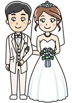 Wedding in tuxedo and wedding dress