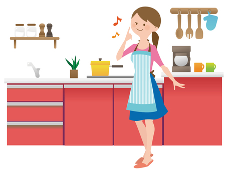A woman standing in the kitchen