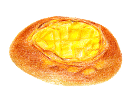 Cheese France bread (colored pencil drawing)