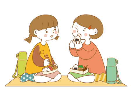 Girls eating lunch
