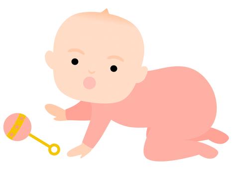 장난감을 잡으려는 아기