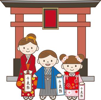 Shichigosan 08 (3 children, torii)