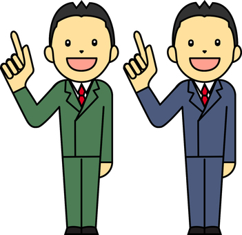Set of men in suits standing with one finger