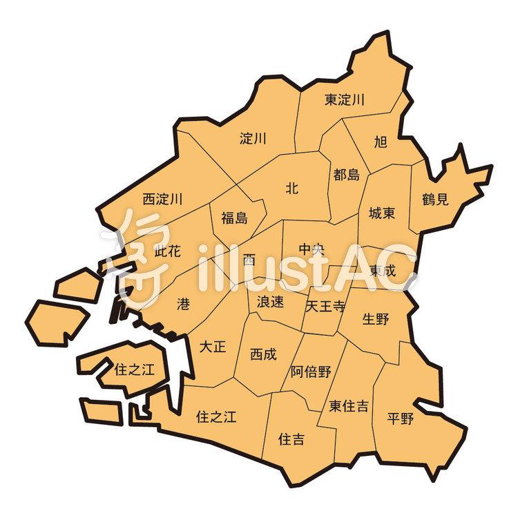 大阪市の地図イラスト No 712223無料イラストならイラストac