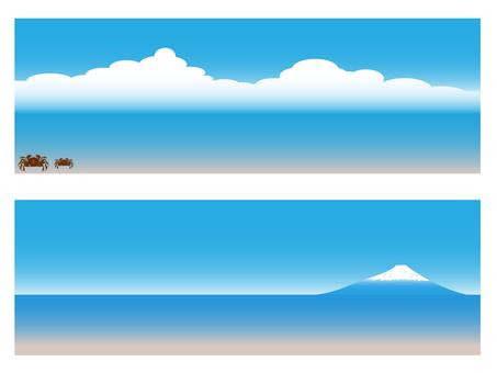 Crab, sea and Mt.Fuji