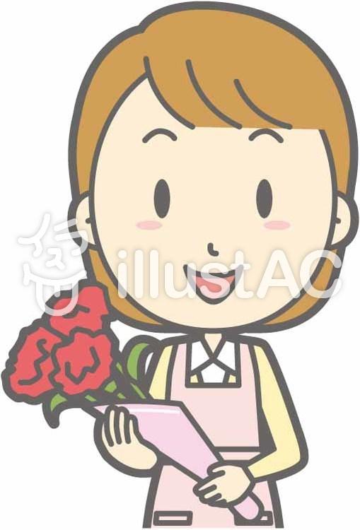 エプロン主婦-花束-バストのイラスト