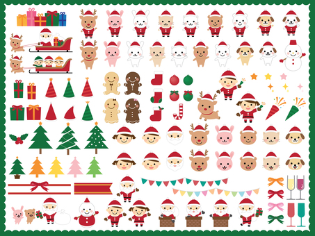 Christmas cute illustration set
