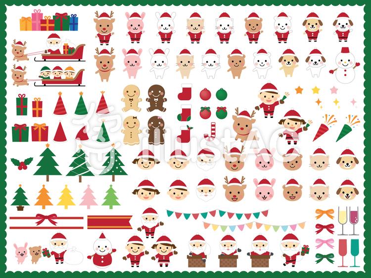 クリスマス可愛いイラストセットのイラスト
