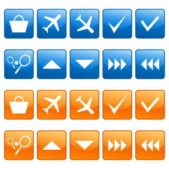 Airplane, racket and arrow icon set