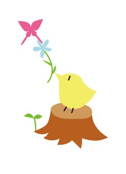 그루터기와 작은 새와 나비와 꽃
