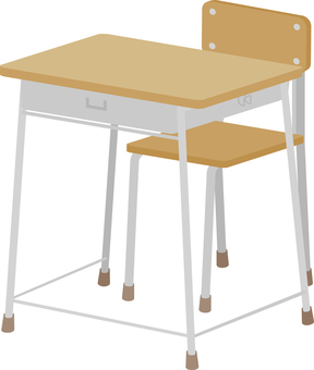 School desk and chair (front)