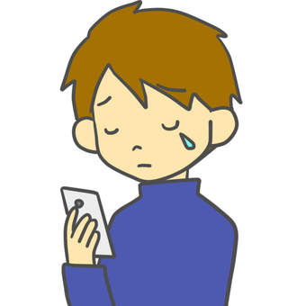 A man who cries looking at a smartphone