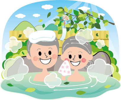 Fresh green summer open-air bath family hot spring elderly people rock bath empty