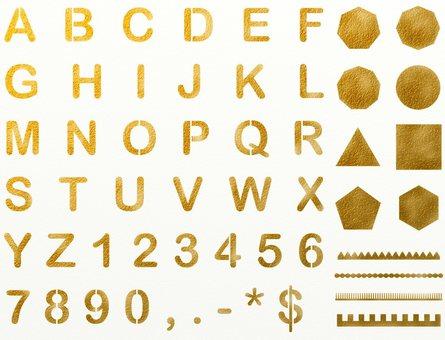 Alphabetical number gold