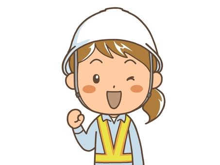 Female worker's guts pose