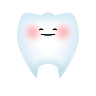 건강한 치아의 캐릭터 (윤곽선 없음)