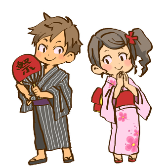 Yukata boys and girls
