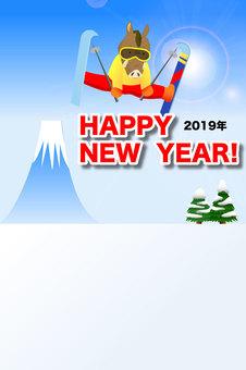 2019年亥年の年賀状「スキージャンプ」