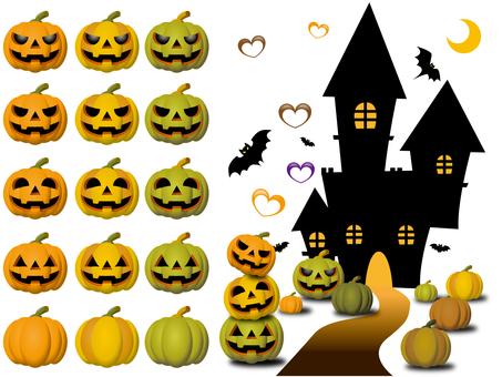 Halloween pumpkin, castle and heart set