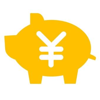 Pig piggy bank yen mark (yellow)