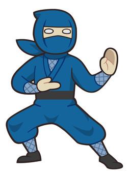 格闘の構えをとる忍者