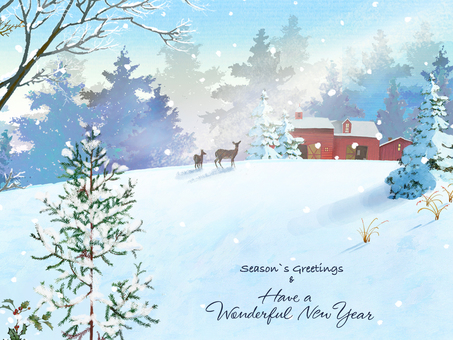 New Year's card winter scene