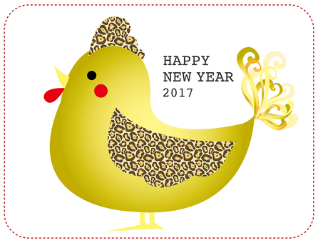 2017 Chicken illustrations for rooster year golden