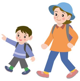 遠足父母和孩子