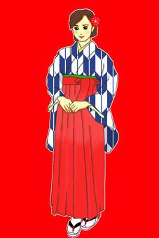 畢業典禮Hakama Yashiri海軍藍
