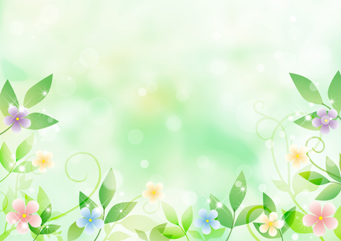 Fresh green and flowers _ green background