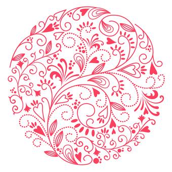 Flower pattern - circle pink