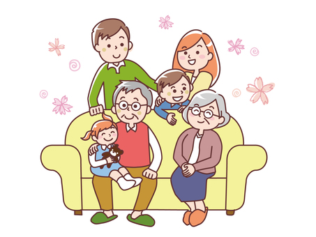 A family of three generations on a sofa