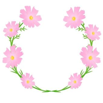 秋桜フレーム、花複数薄いピンク