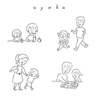 父母和孩子的插圖集
