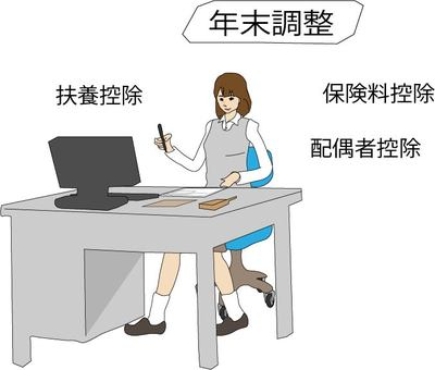 Woman filling in year-end adjustment