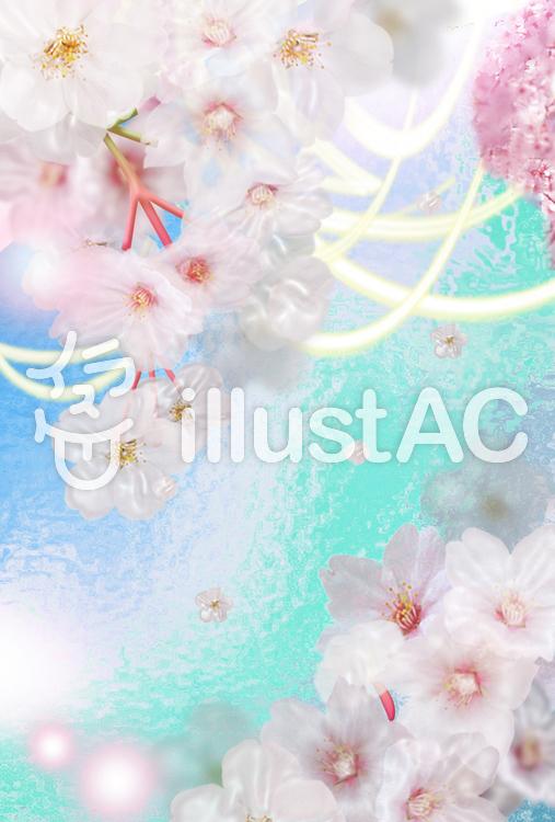 桜と川のイラスト