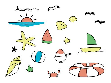 Hand drawn color marine set