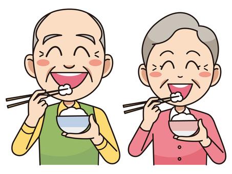 बुजुर्ग युगल जो चावल खाते हैं