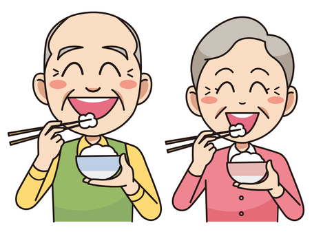 Yaşlı çift, pirinç yemek