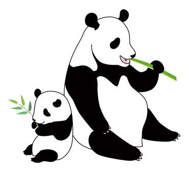 ジャイアントパンダの親子