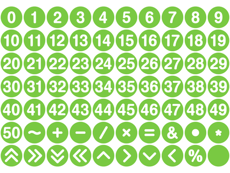 Numbers and symbols set Round (green)