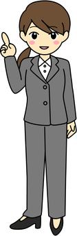 Women's female gray suit Full body whole legs front