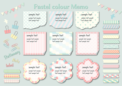 Pastel color memo tape set