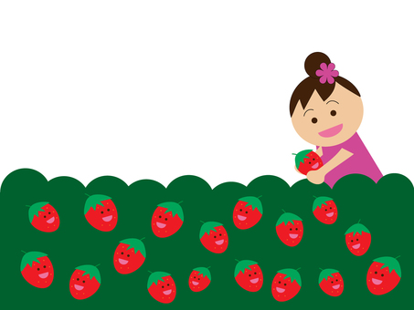 Picking strawberries with strawberries