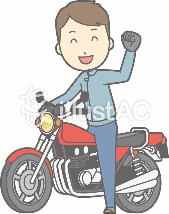 バイク-オートバイポーズ-全身のイラスト