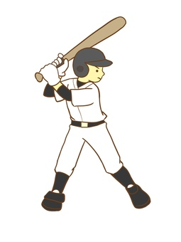 A boy playing baseball (batter)