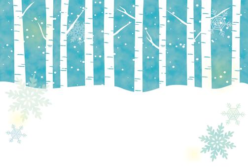 눈과 자작 나무 숲의 카드 (가로)