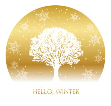 Snowy field tree circular background