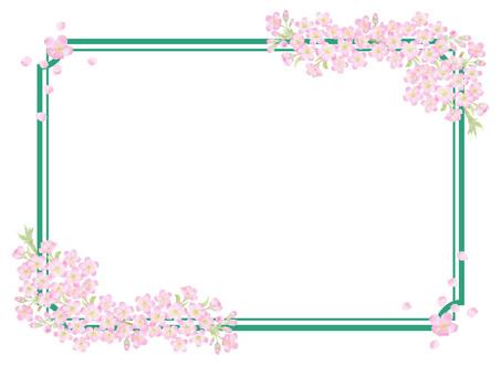 桜枠飾り緑 ★0495-F