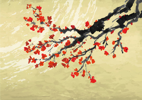 梅の水墨画素材2